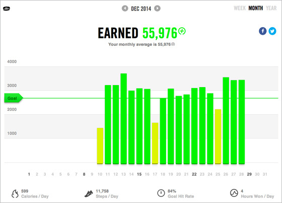 Nike+ FuelBand monthly overview