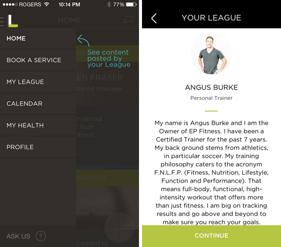 League healthcare app screen shots
