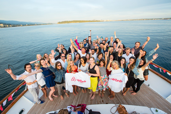 Airbnb group shot aboard The Oriana