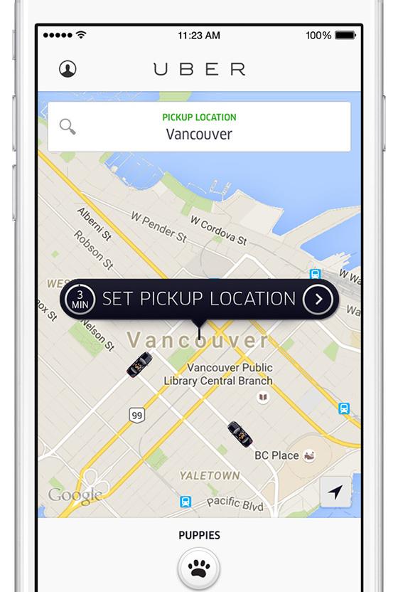 Uber puppies screen