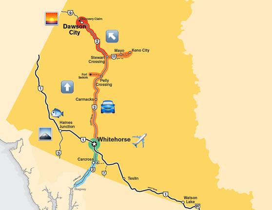 Whitehorse to Dawson emoji map