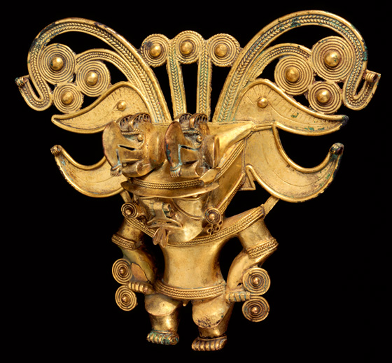 Bat Man gold figure; Royal BC Museum, Victoria
