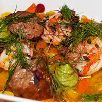 Chambar chorizo and prawns