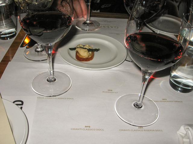 Dinner wines at Siena