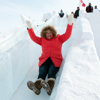Snowking ice castle slide, Yellowknife, NWT