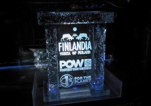 Finlandia Protect Our Winters ice sculpture