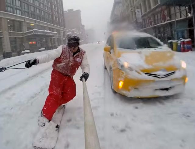 Casey snowboarding, NYC