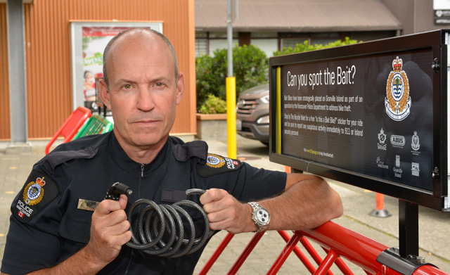 Constable Rob Brunt with a compromised lock