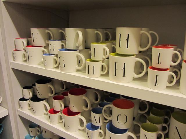 Indigo monogram mugs