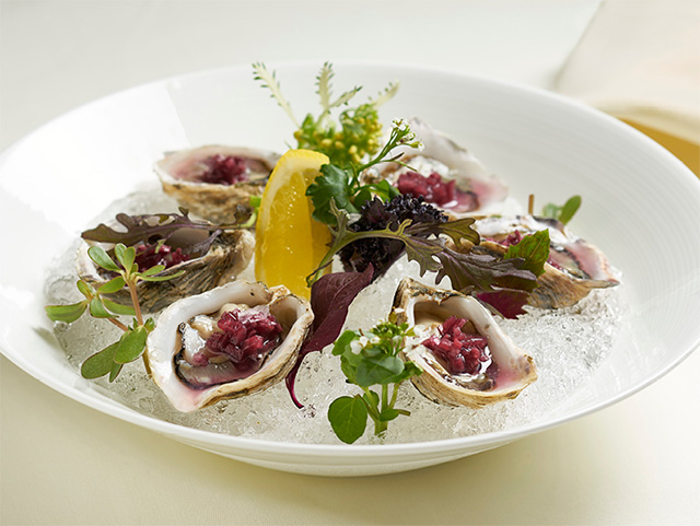 Kusshi oysters at Bacchus Restaurant, Vancouver