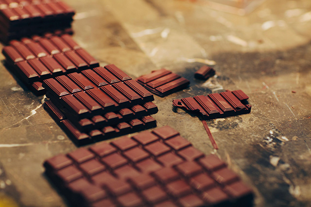 Raw chocolate bars in progress