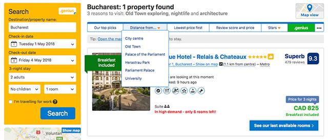 Booking.com screen shot