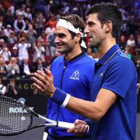 Roger Federer, Novak Djokovic at 2018 Laver Cup