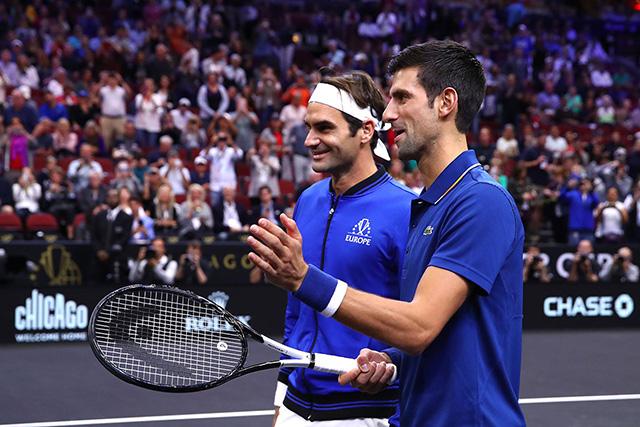 Roger Federer with Novak Djokovic