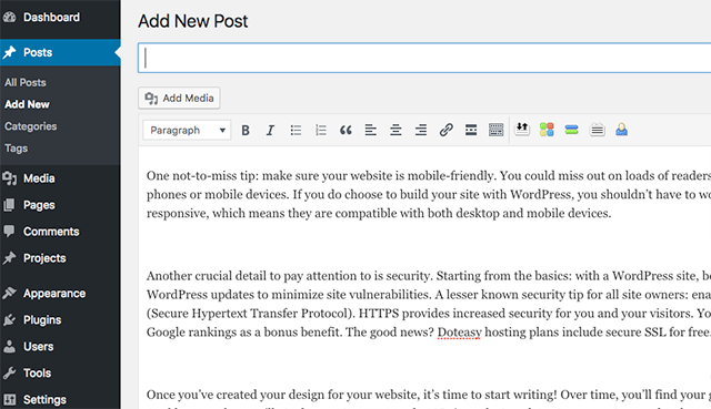 Adding A WordPress Post