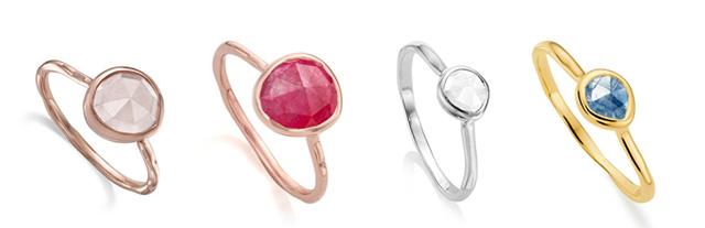 Siren Stacking Ring, Rose Quartz, Pink Quartz, Rock Crystal, Kyanite