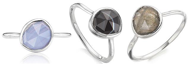 Monica Vinader silver Siren stacking rings