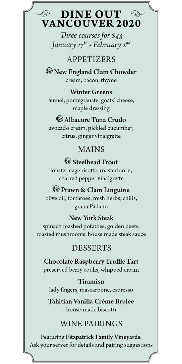 Joe Fortes Vancouver Dine Out menu