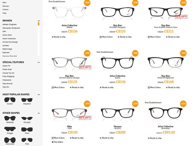 SmartBuy Glasses selection