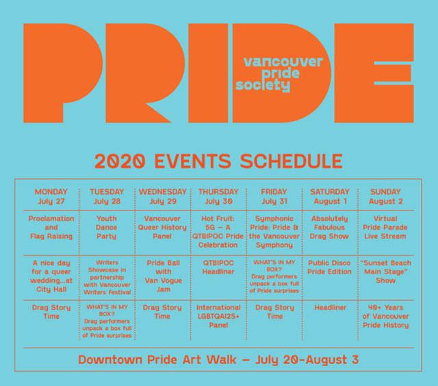 Pride schedule