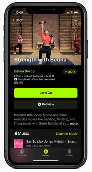 Apple Fitness+ screen