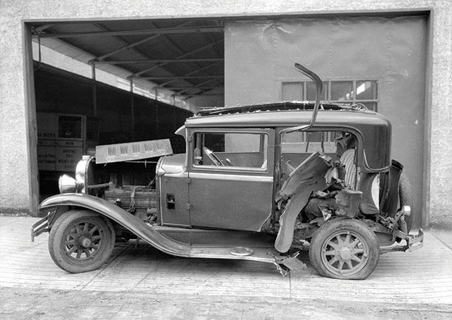 Wally Wooldridge's wrecked car
