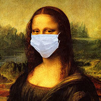 Mona Lisa wearing a face mask